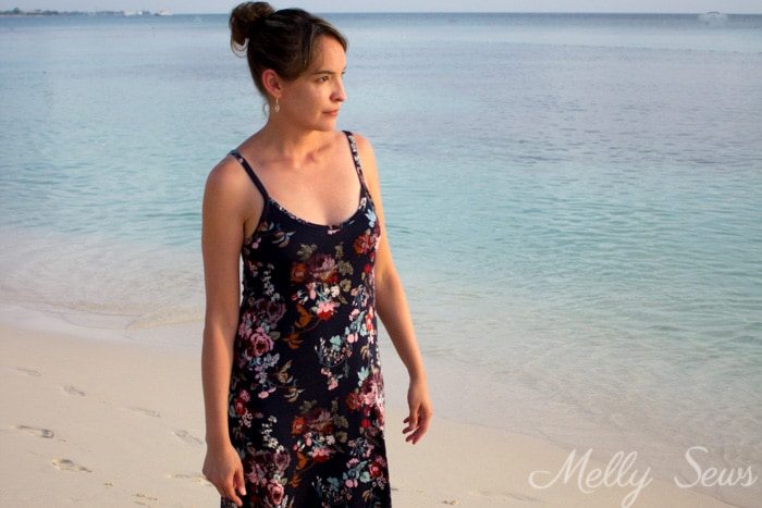 Knit sundress - Sew Spaghetti Strap Dress - Make a Strappy Tank Dress - Video and DIY Tutorial by Melly Sews