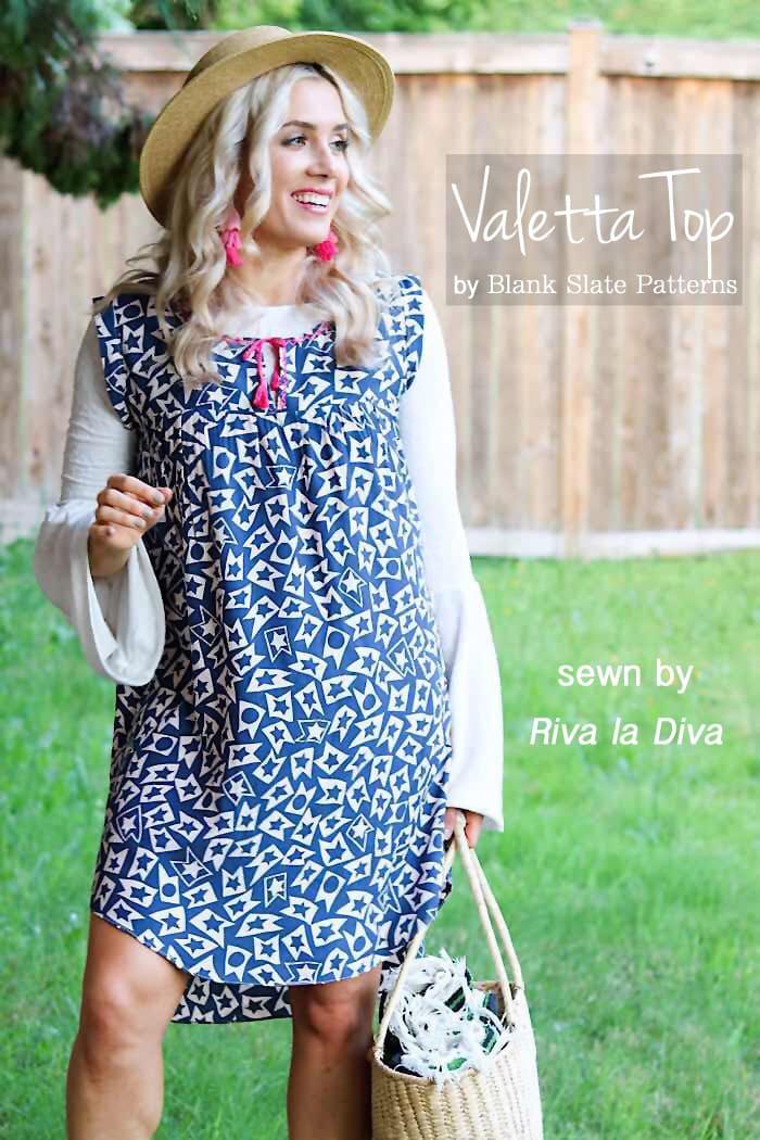 Valetta Top sewing pattern from Blank Slate Patterns sewn by Riva la Diva