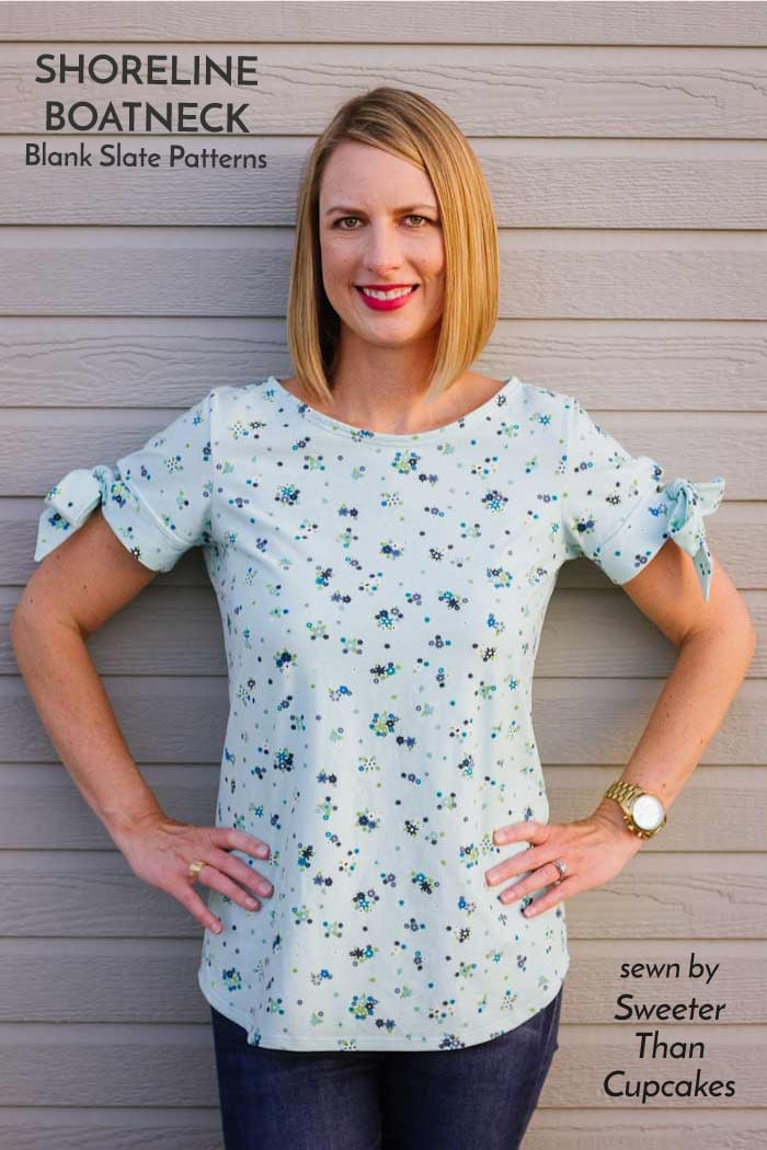 Shoreline Boatneck with bow sleeve hack   sewing pattern from Blank Slate Patterns   sewn by Sweeter Than Cupcakes
