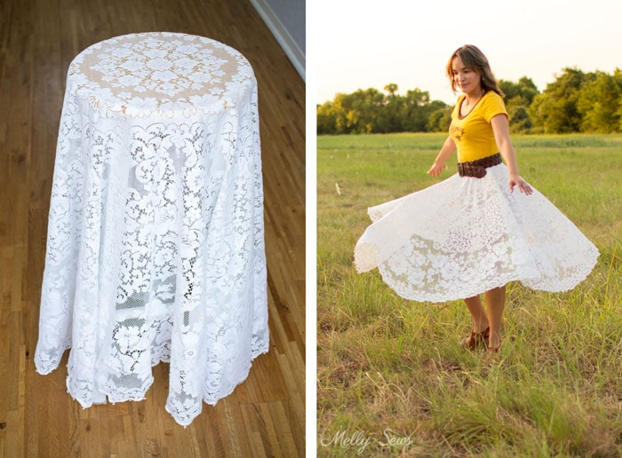 Lace tablecloth to skirt - Turn a vintage table cloth into a skirt - sustainable sewing tutorial by Melly Sews
