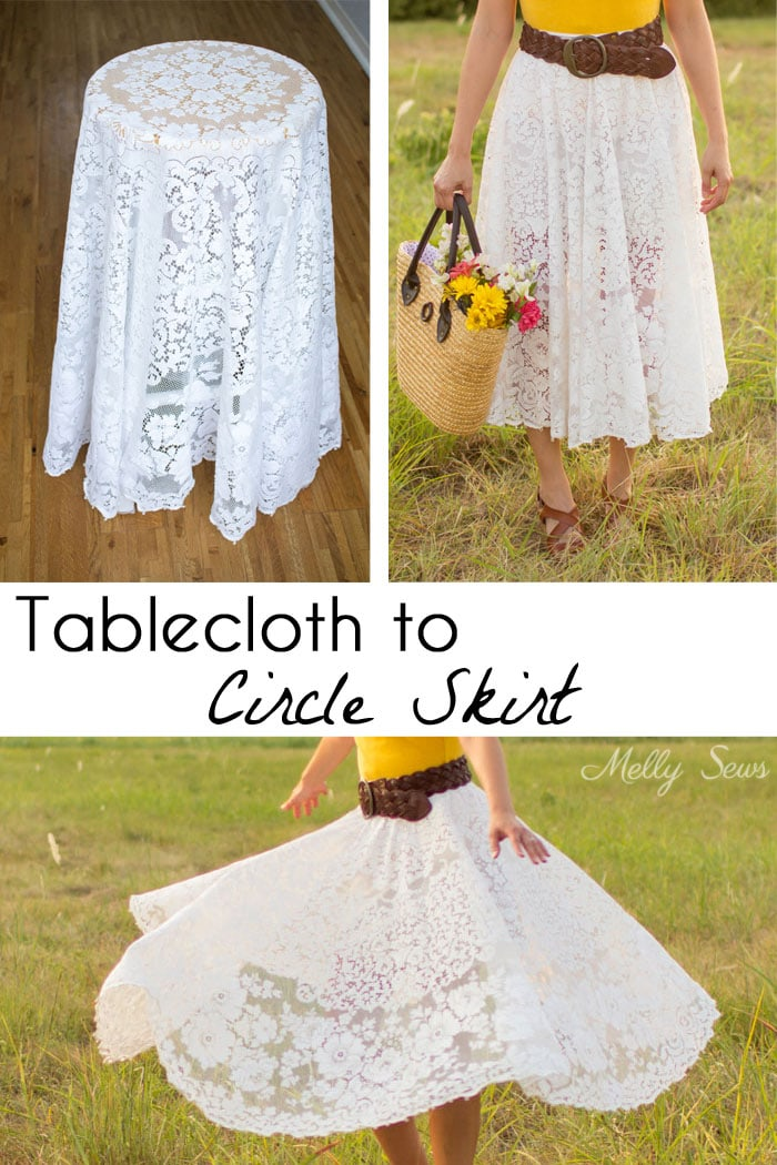 Turn a vintage table cloth into a skirt - sustainable sewing tutorial by Melly Sews