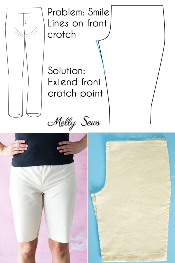 Full front thigh crotch adjustment - Pants fitting help - How to Sew Pants that Fit - Fit Problems and Solutions - Melly Sews