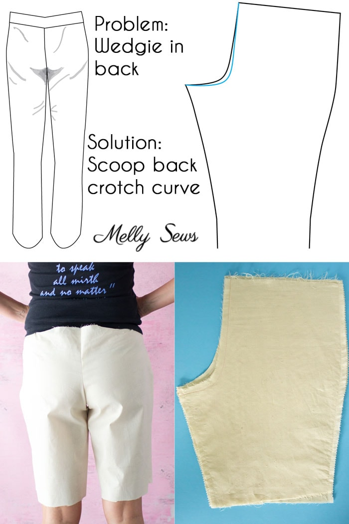Full rear pants adjustment - Pants fitting help - How to Sew Pants that Fit - Fit Problems and Solutions - Melly Sews