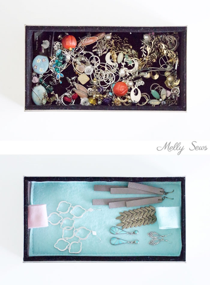 Before an after - such an improvement - Organization Hack - How to Organize Earrings - Earring organization - tutorial by Melly Sews