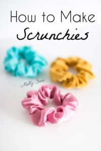 Teal blue, pink and yellow hair DIY scrunchies - How to make scrunchies