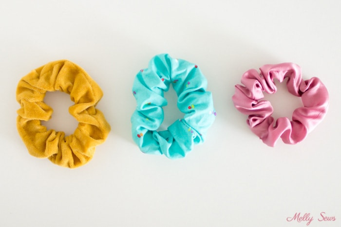 Yellow, blue and pink scrunchies with instructions to sew your own