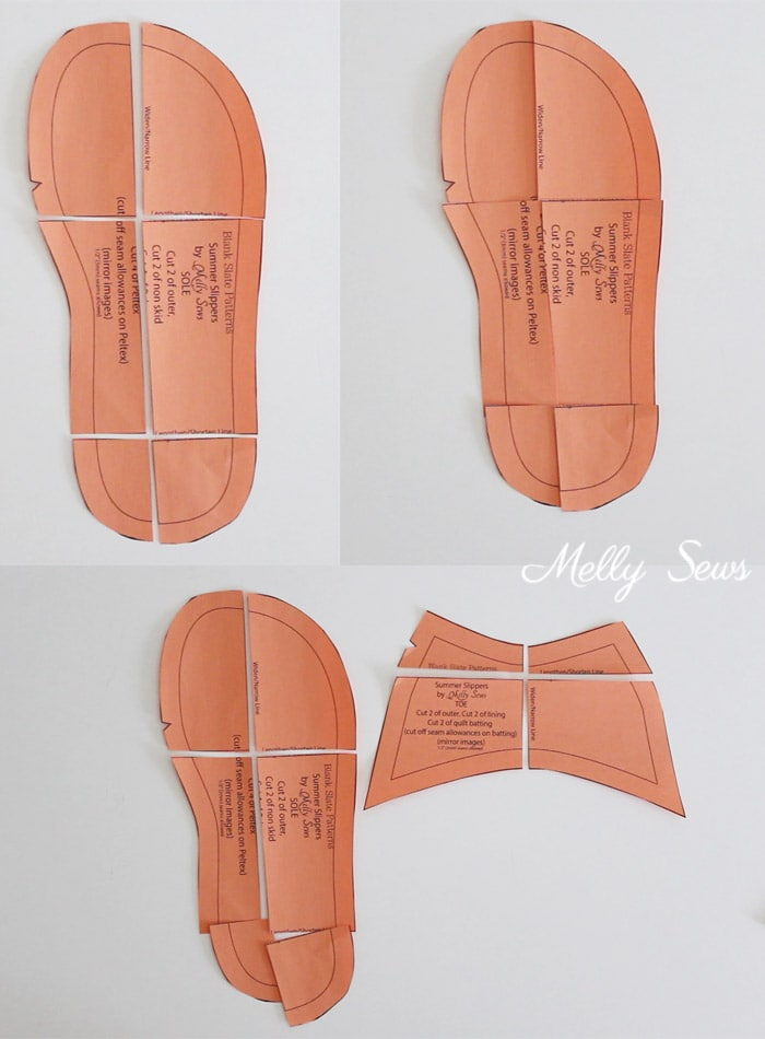 Resize a pattern - How to sew DIY slippers - sew house shoes - make slides with this tutorial by Melly Sews