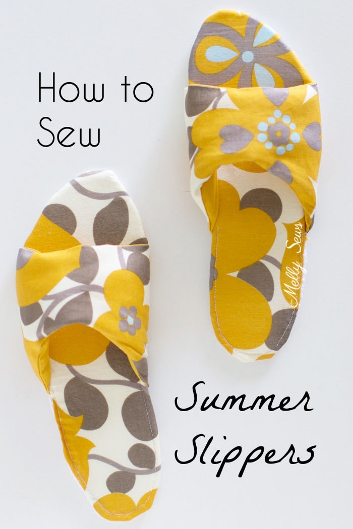 How to sew DIY slippers - sew house shoes - make slides with this tutorial by Melly Sews
