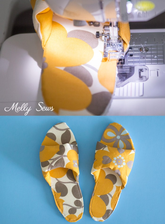 Step 5 - How to sew DIY slippers - sew house shoes - make slides with this tutorial by Melly Sews