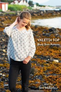 Valetta Peasant Top sewing pattern from Blank Slate Patterns sewn by Sew Mariefleur