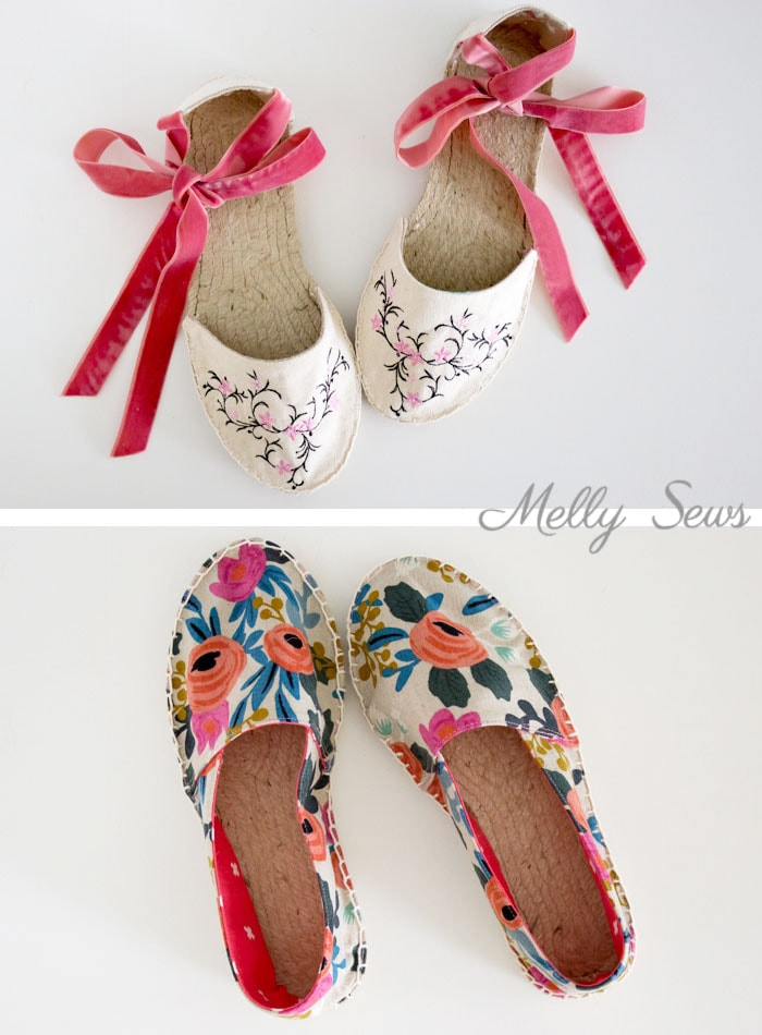 Two kinds of flat espadrilles - DIY Espadrilles - Make your own shoes - Melly Sews