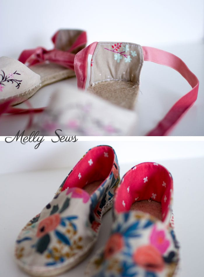 Lovely lining - DIY Espadrilles - Make your own shoes - Melly Sews