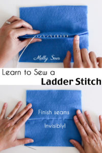 How to sew a ladder stitch - close a seam invisibly - aka slip stitch, blind stitch or invisible stitch instructions