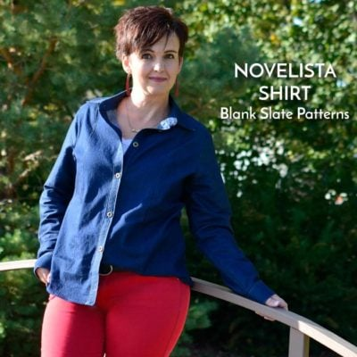 Novelista Shirt sewing pattern from Blank Slate Patterns sewn by Be So Crafty