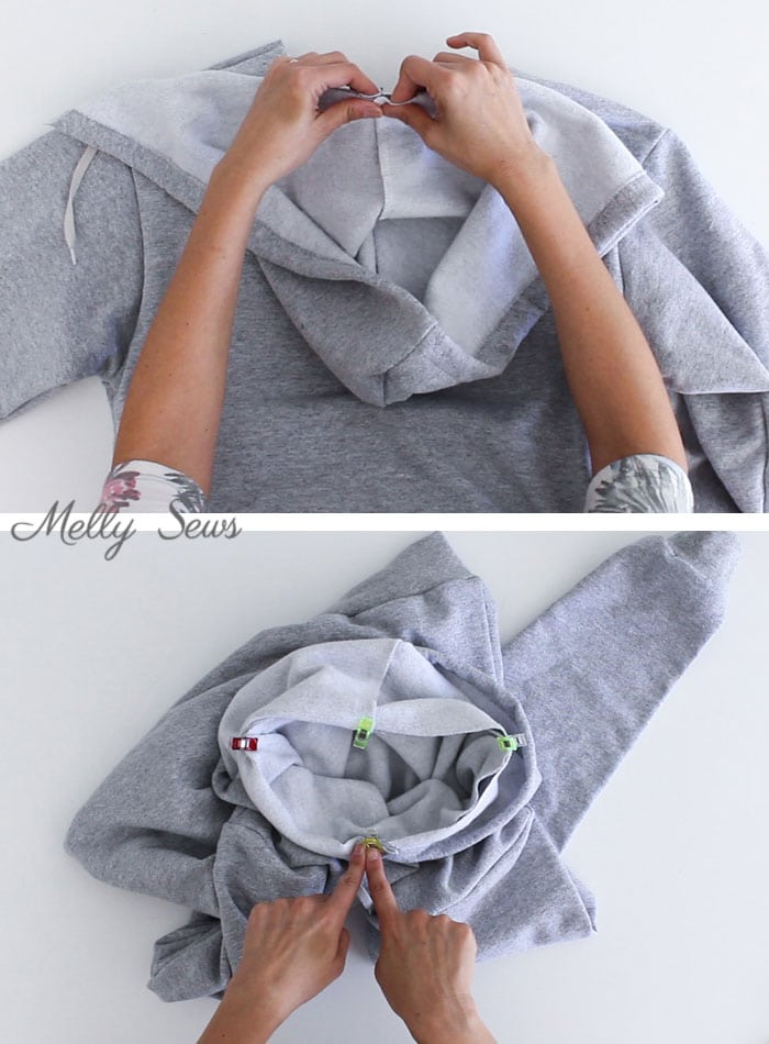 step 9 - Sew a Hoodie - Make a Hoodie for Men or Women - Unisex Hoody - Melly Sews
