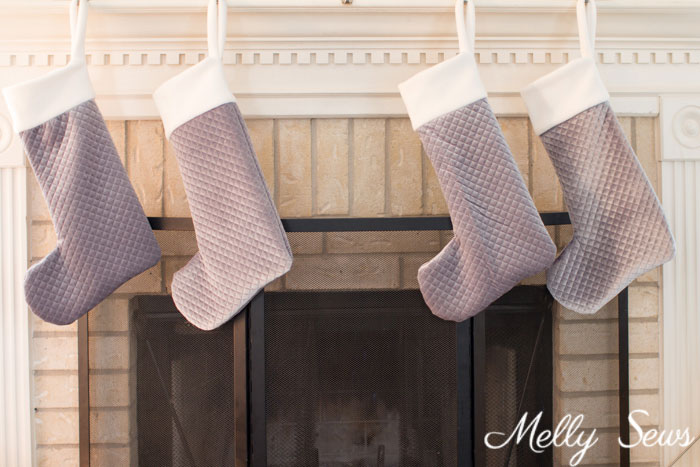 Farmhouse stockings - quilted velvet Christmas stockings - DIY tutorial to make these with a free sewing pattern - Melly Sews