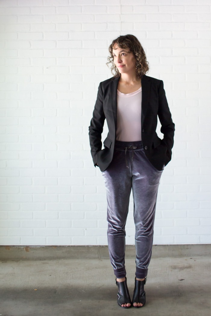 Love this winter outfit - blazer and joggers - Learn to Sew a Drawstring Waistband - Jogger Pants Waistband How To
