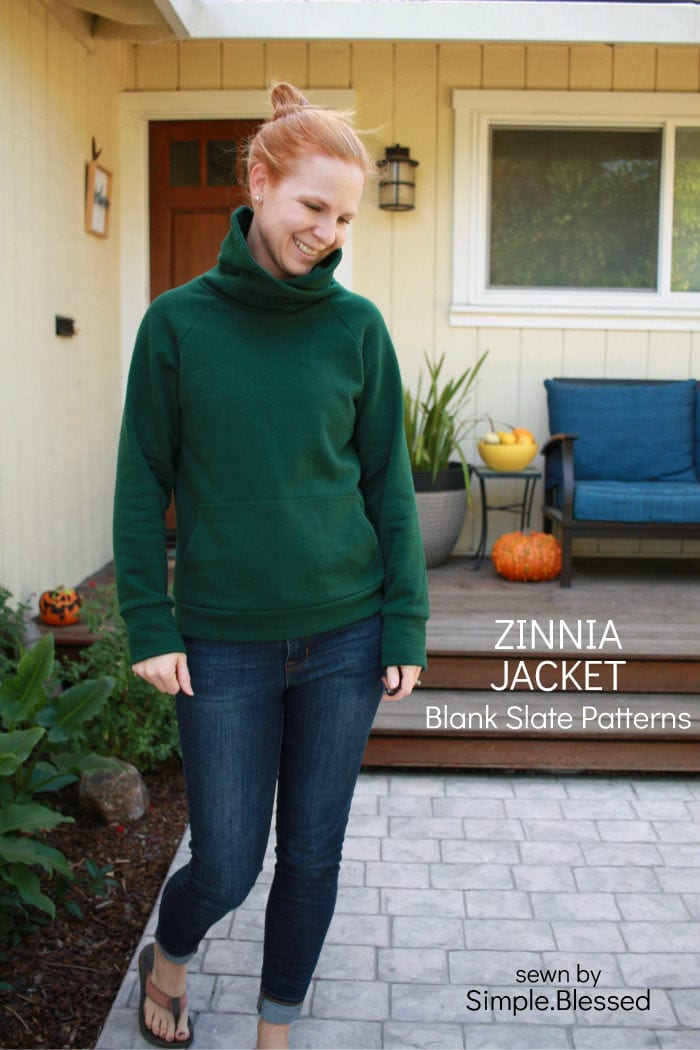 Zinnia Jacket sewing pattern by Blank Slate Patterns sewn by Simple.Blessed