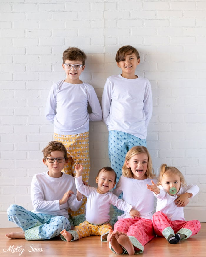 Cousin Group Photo - Cozy Christmas fabric from Riley Blake Designs by Lori Holt - Christmas sibling pajamas - Melly Sews