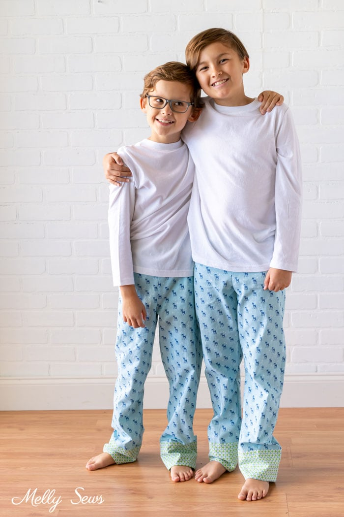 Brothers - Cozy Christmas fabric from Riley Blake Designs by Lori Holt - Christmas sibling pajamas - Melly Sews