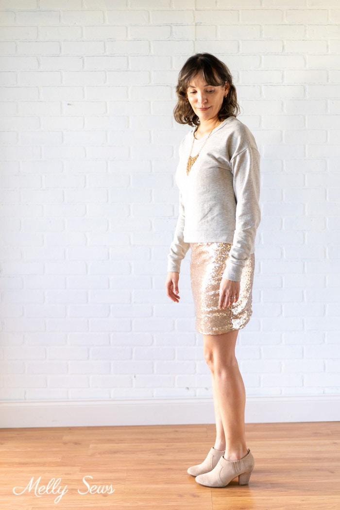 New Years look? How to sew a sequin skirt - tutorial with video from Melly Sews