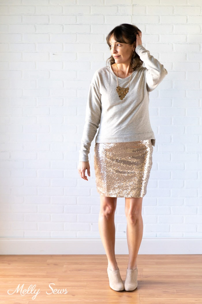 Sequin Skirt outfit - How to sew a sequin skirt - tutorial with video from Melly Sews
