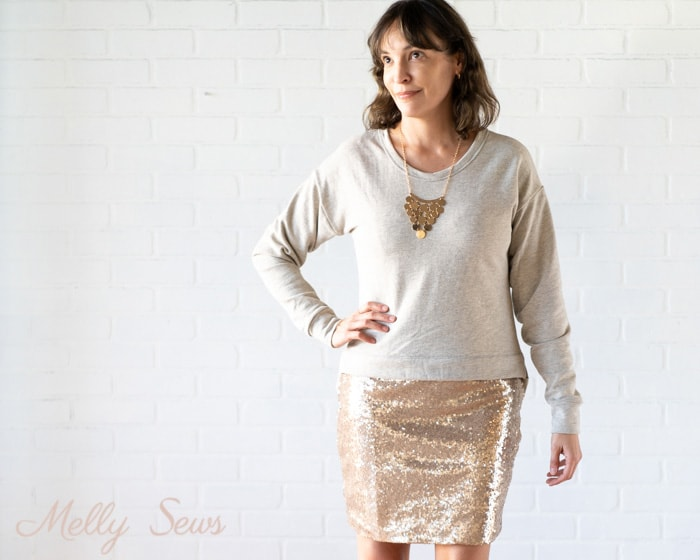 Sweatshirt and skirt - How to sew a sequin skirt - tutorial with video from Melly Sews