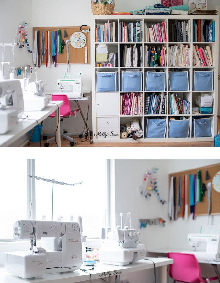 Sewing room organization - Tour my sewing studio - craft room  - Melly Sews