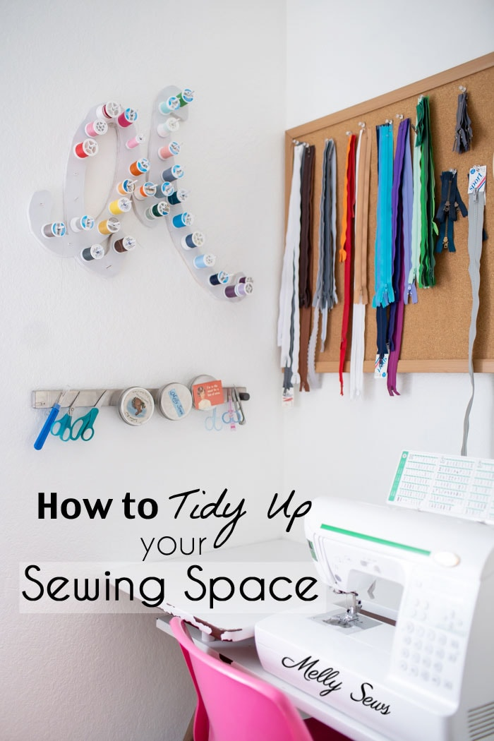 Tidy up sewing space - craft room organization Marie Kondo Style