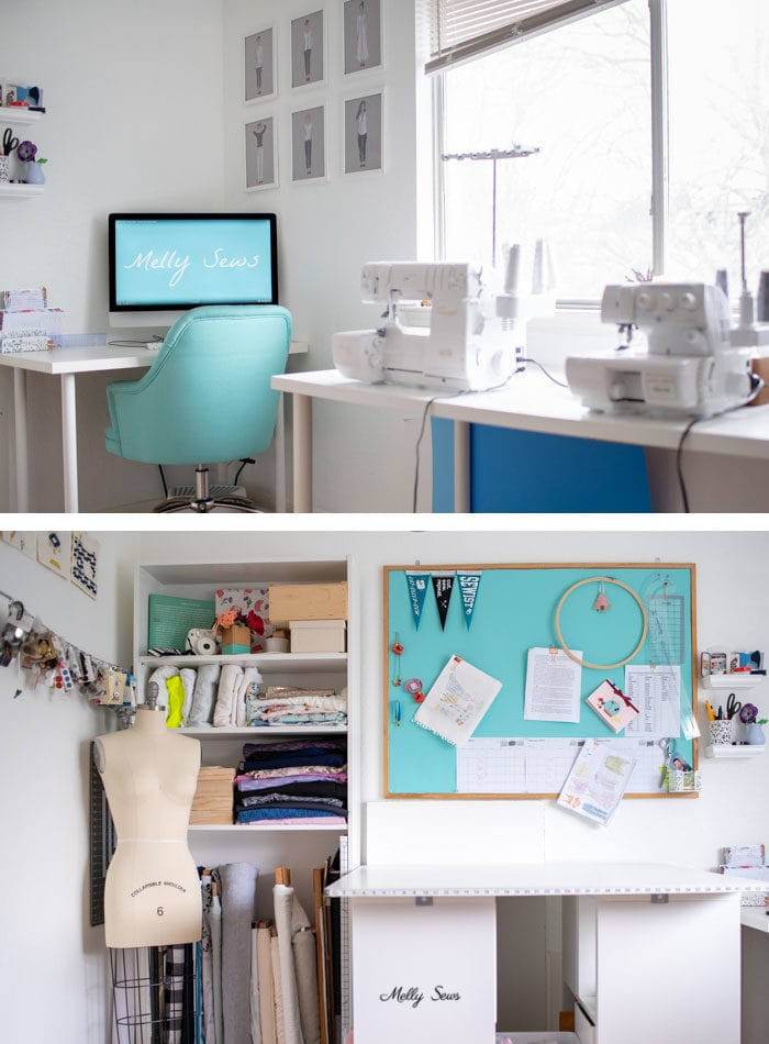 Love the light in this room! Tour my sewing studio - craft room ideas for organization - Melly Sews