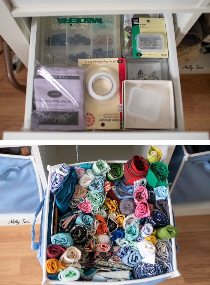 Sewing notions and scrap storage - Tour my sewing studio - craft room ideas for organization - Melly Sews