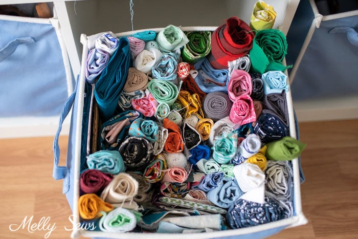 Fabric storage - Tidy up your sewing space - craft room organization Marie Kondo Style