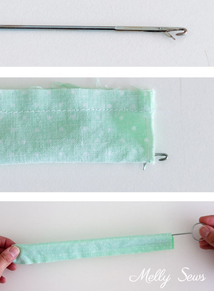 Use a Loop Turner - 3 Ways to Turn a Tube Right Side Out - How to Turn Fabric - Melly Sews