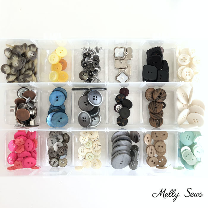 Button storage - Tidy up your sewing space - craft room organization Marie Kondo Style