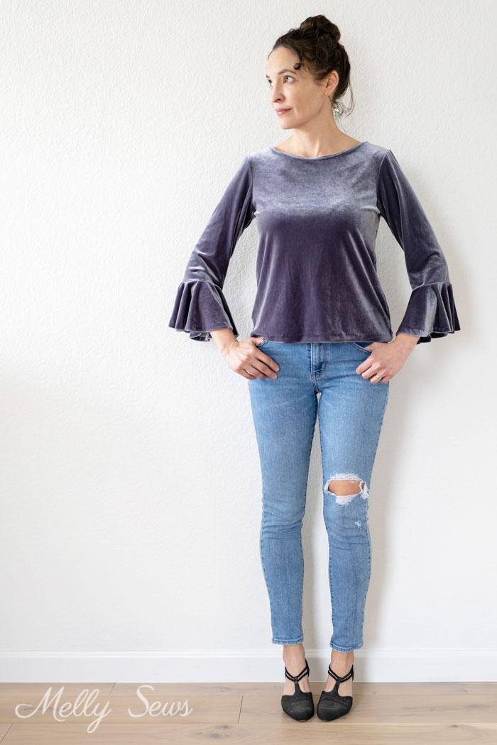 Velvet top and jeans outfit - How to Sew a Circle Sleeve - Sleeve Ruffle Tutorial - Melly Sews