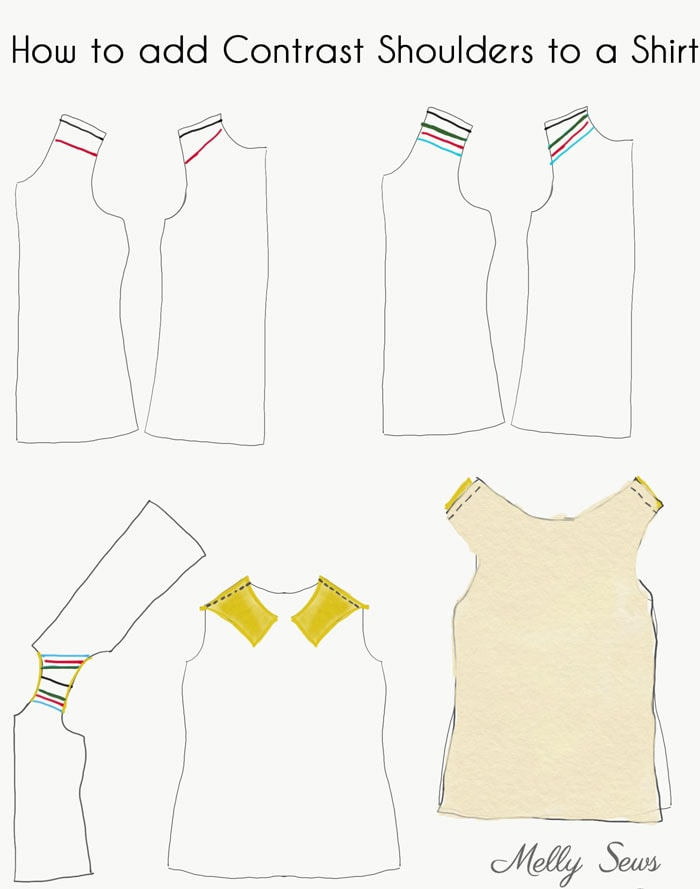Tutorial - How to Sew a Contrast Shoulder - T-shirt Hack by Melly Sews