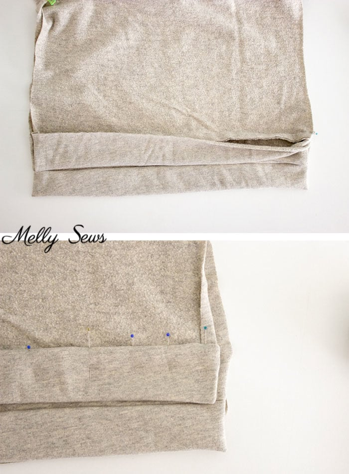 Step 2 - How to Sew a Split Hem Sweatshirt - Melly Sews