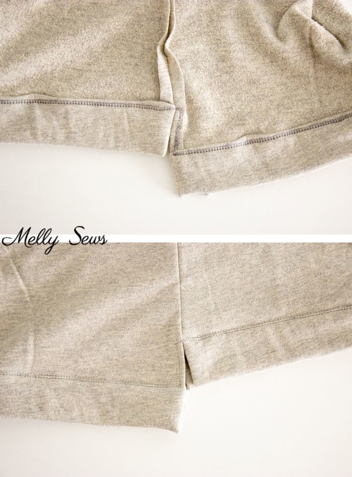 Step 3 - How to Sew a Split Hem Sweatshirt - Melly Sews