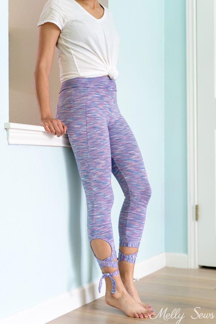 Lavender leggings - Sew tie leggings - these leggings with cutouts and ties are ballet inspired and have pockets! - Melly Sews