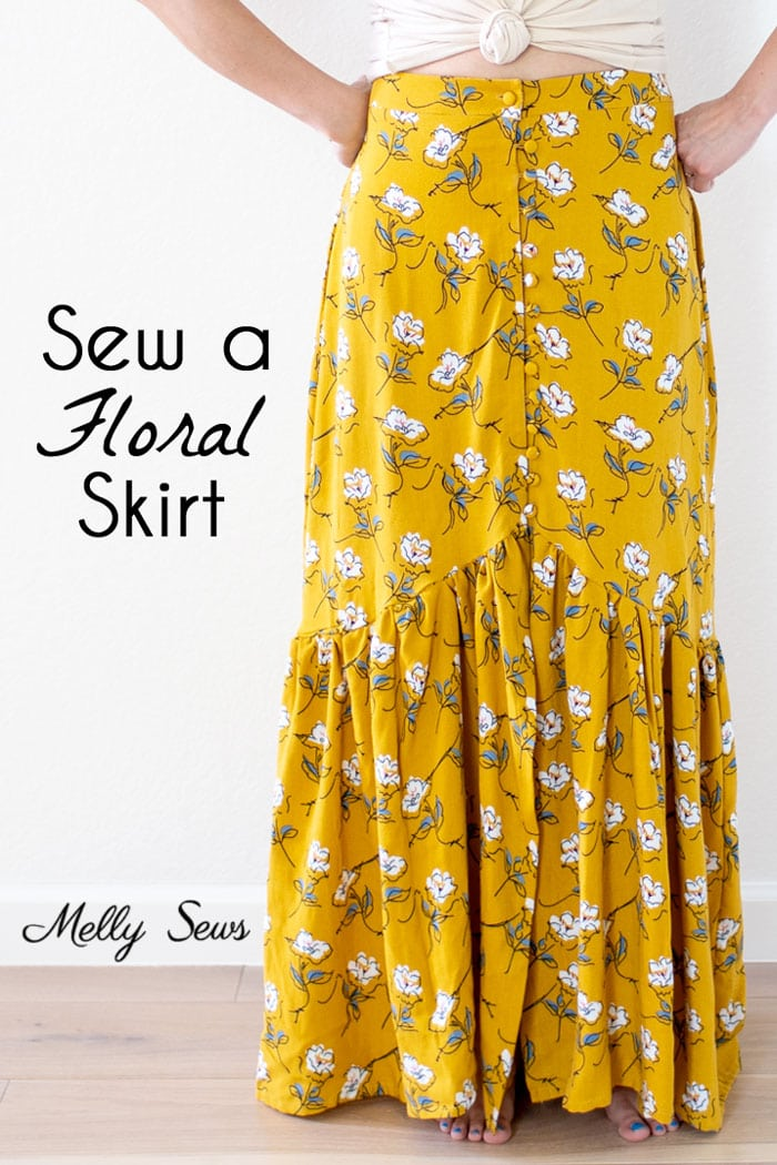 Sew a floral skirt - boho ruffled yellow maxi skirt - DIY tutorial by Melly Sews