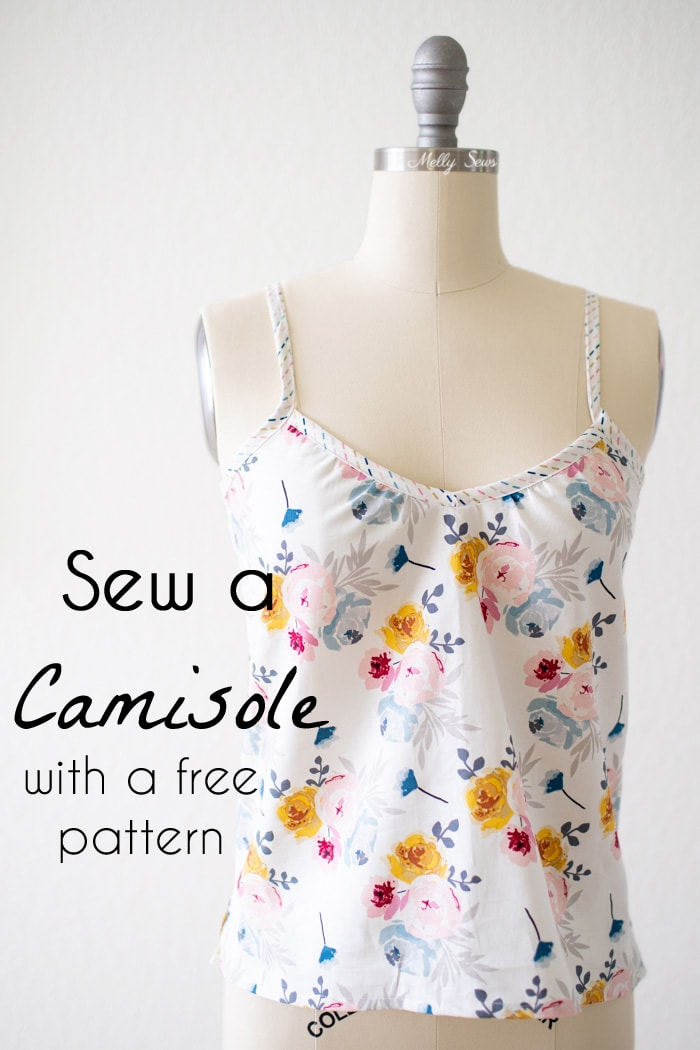 Sew a camisole - summer tank top tutorial with free pattern by Melly Sews