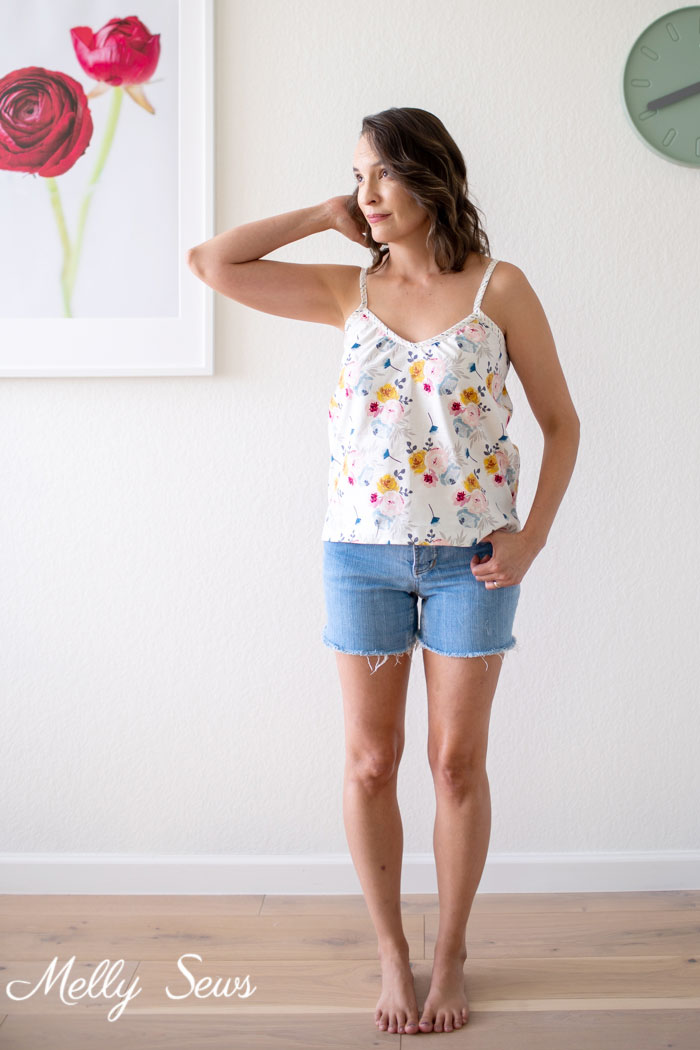 Floral camisole and cut offs - feminine summer outfit