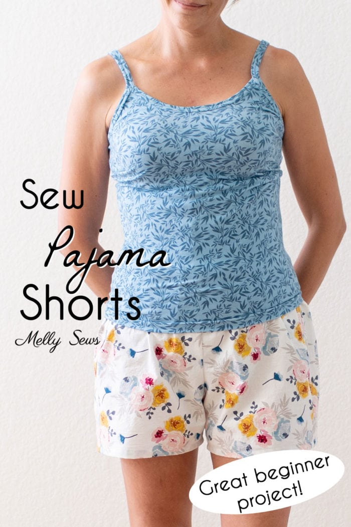 How to sew pajama shorts - a good beginner sewing project. Woman wearing a blue tank top and white floral pajama shorts