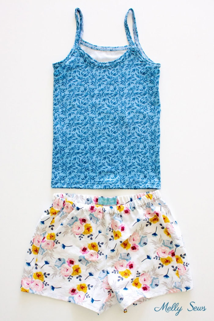 Blue tank top and DIY floral boxer shorts sewing pattern