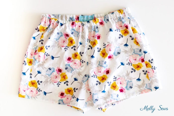 White background floral print shorts sewn from a pattern on mellysews.com
