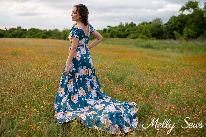 Floral print dress with train - Projects sewn with Blooms and Bobbins fabric by Melissa Mora for Riley Blake Designs