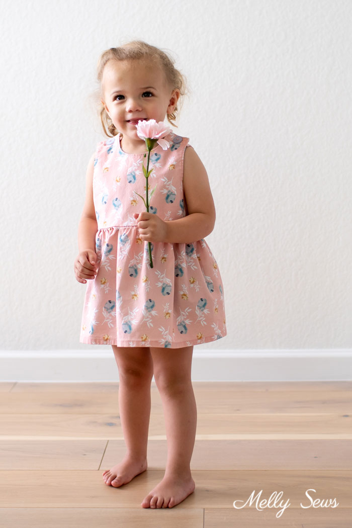 Toddle Girl floral print dress - Blooms and Bobbins fabric by Melly Sews