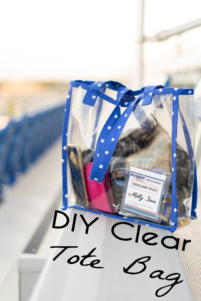 DIY stadium clear bag using clear vinyl and bias tape with this tutorial - Melly Sews