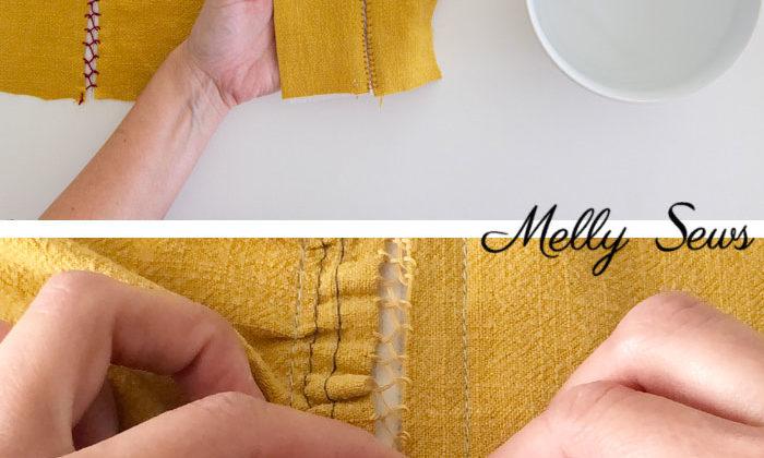 Machine sewing a fagoting stitch - hand sewing a bridged seam - Melly Sews