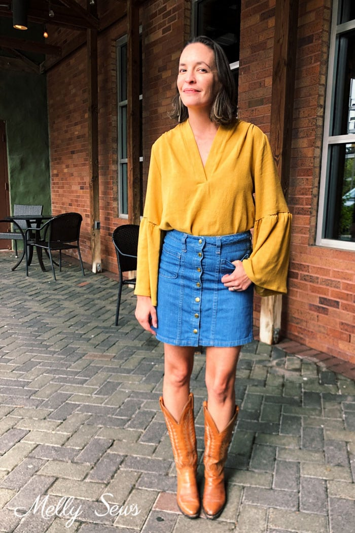 Casual fall denim skirt outfit with boots - How to sew fagoting, a decorative stitch for clothing - hand sewing and machine sewing options - Melly Sews